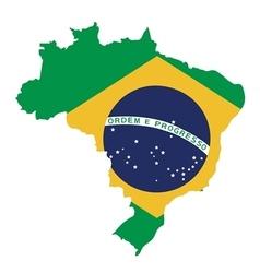 Brazil map on brazil flag vector
