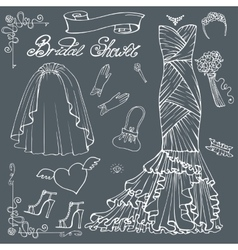 Bridal shower dressaccessories setoutline decor vector