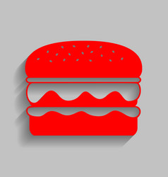 Burger simple sign red icon with soft vector