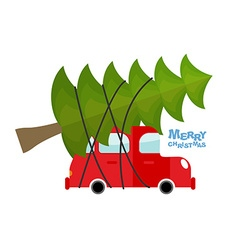 Car carries christmas tree machine and green tree vector