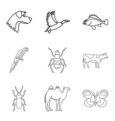 cattle icons set outline style vector image vector image