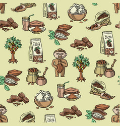 Cocoa products plantation handdrawn sketch vector