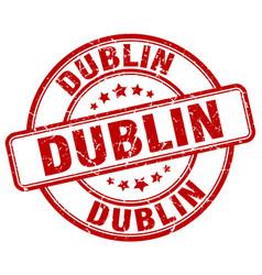 Dublin red grunge round vintage rubber stamp vector