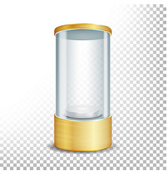 Empty glass showcase podium with spotlight and vector