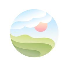fields logo or organic farm emblem vector image