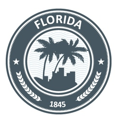 Florida emblem with palm tree and city silhouettes vector image
