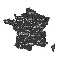 France map with labels black vector image vector image