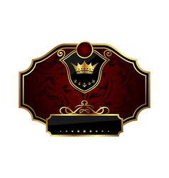 golden frame label with crown vector image