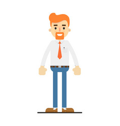 Happy redheaded bearded clerk character vector