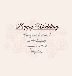 Happy wedding greeting card design style vector