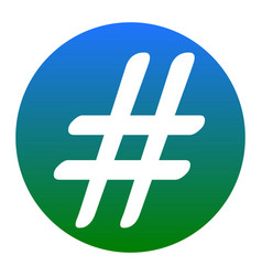 hashtag sign white icon in vector image