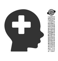 Head medicine icon with work bonus vector