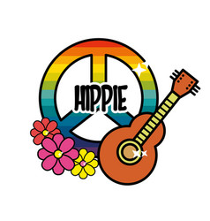 Hippie emblem with flowers and musical guitar vector