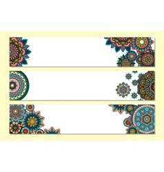 Horizontal mandalas headers for website vector image vector image