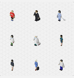 Isometric human set of doctor hostess vector