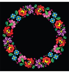 Kalocsai embroidery in circle - hungarian floral vector