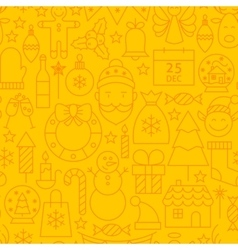 Line christmas yellow seamless pattern vector