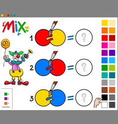 mix colors educational game with clown vector image