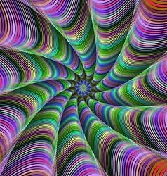 Multicolor striped fractal tentacles vector