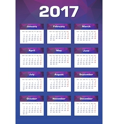 New year calendar 2017 monday first vector