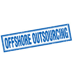 Offshore outsourcing square stamp vector