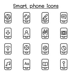 Smart phone icon set in thin line style vector
