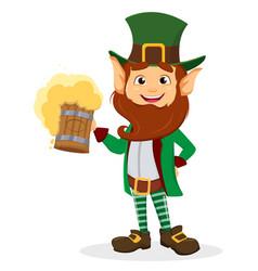 Smiling cartoon character leprechaun with green vector