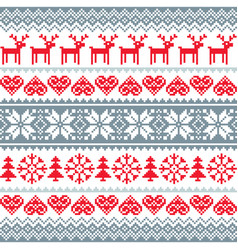 winter christmas red and grey seamless pattern vector image vector image