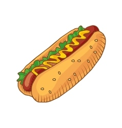 Hotdog with mustard isolated vector