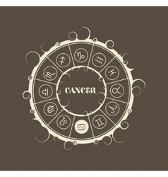 Astrology symbols in circle cancer sign vector