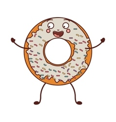 Avatar donut with white glazed and colored sparks vector