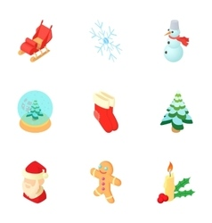Winter holiday icons set cartoon style vector