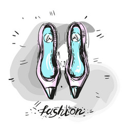 Modern trendy shoes sketch fashion vector