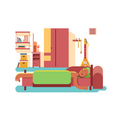 Man sleep in bed vector