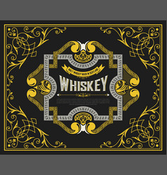 Whiskey label with vintage ornaments vector