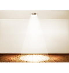 Wall with a spotlight and wooden floor showroom vector