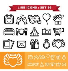 Wedding line icons set 36 vector