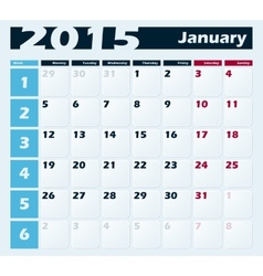 Calendar 2015 January design template vector image