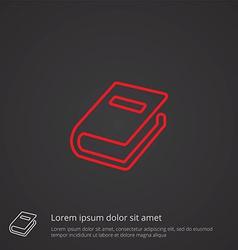book outline symbol red on dark background logo vector image