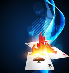 Burning casino card vector