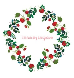Strawberry background with leaves vector