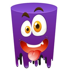 Silly face on purple tube vector