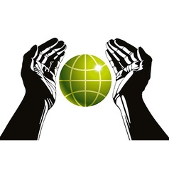 Hands and earth symbol ecology care vector