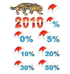 Christmas hat discounts tiger vector