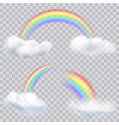 Transparent rainbows with clouds vector