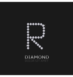 Letter r with gemstones vector