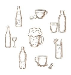 Drinks alcohol and beverages flat icons vector