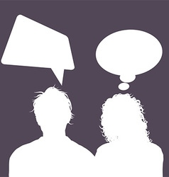 Male and female avatars with speech bubbles 1503 vector
