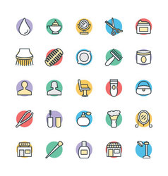 Hair salon cool icons 3 vector