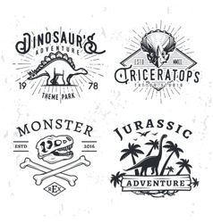 Set of dino logos t-rex skull t-shirt vector